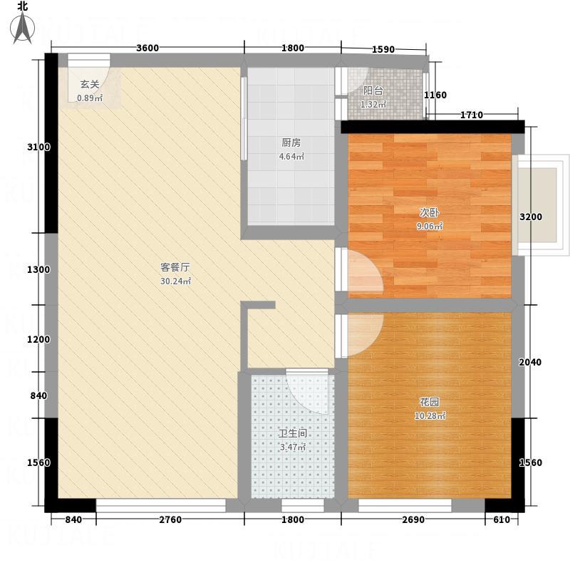 中毫上层上品74.73㎡G户型1室2厅1卫1厨