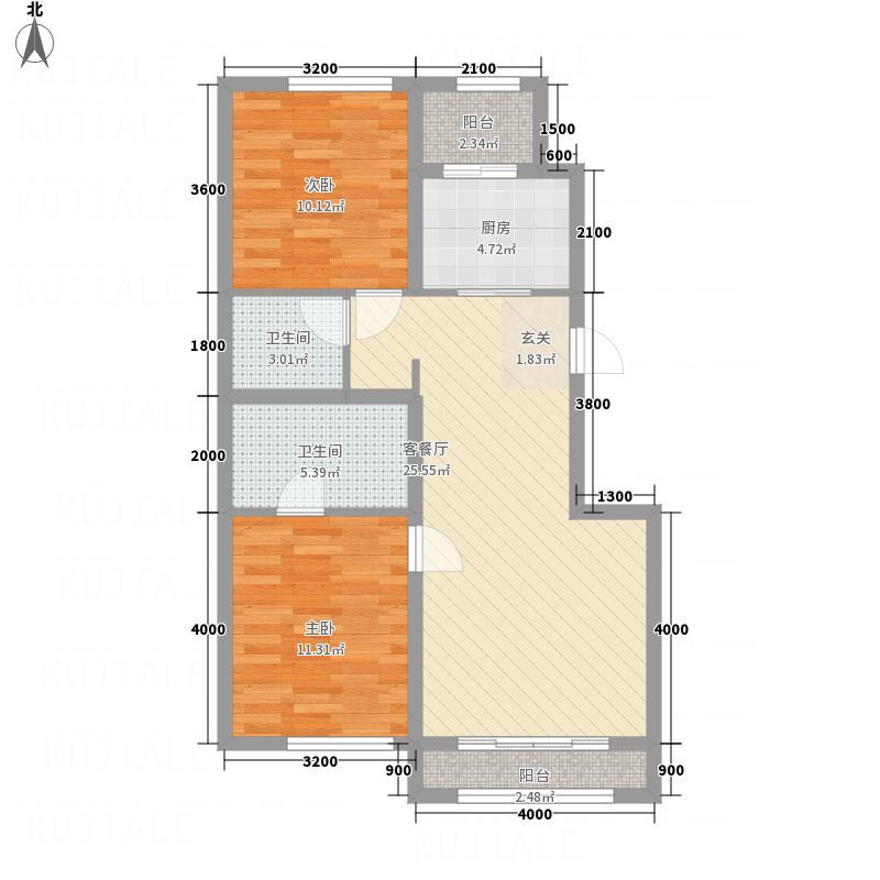 参花街3号院388.20㎡B户型2室2厅2卫1厨