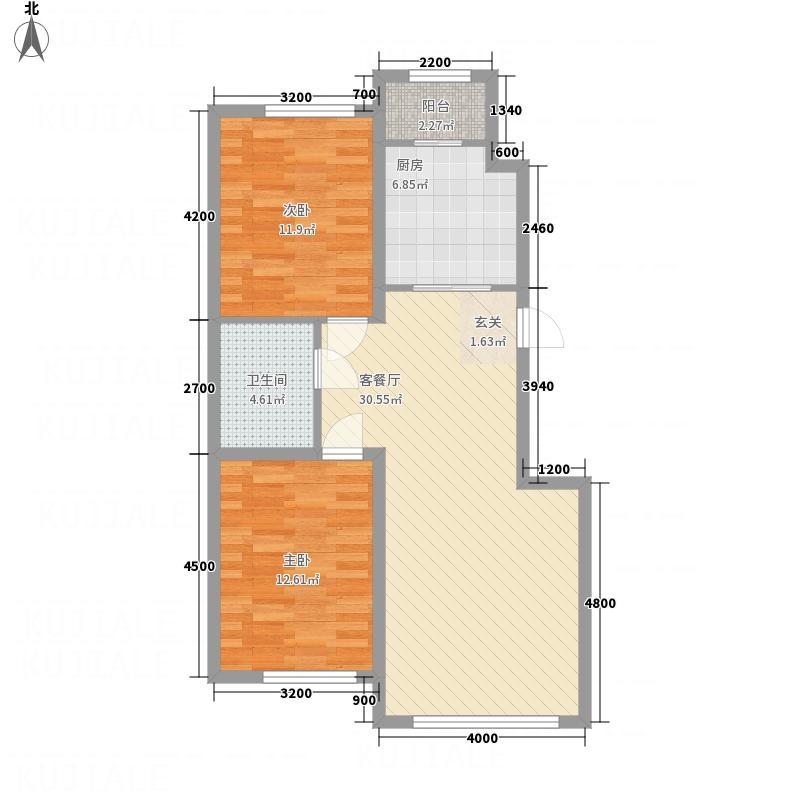参花街3号院35.20㎡E户型2室2厅1卫1厨