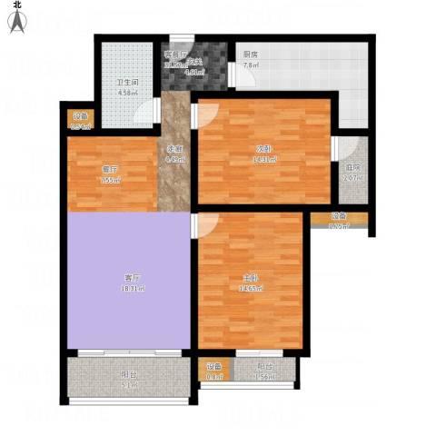丽水苑2室1厅1卫1厨123.00㎡户型图