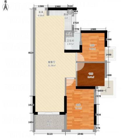 城市假日E区3室1厅1卫0厨88.00㎡户型图