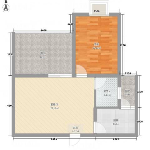 同立紫郡玫瑰园1室1厅1卫1厨64.00㎡户型图