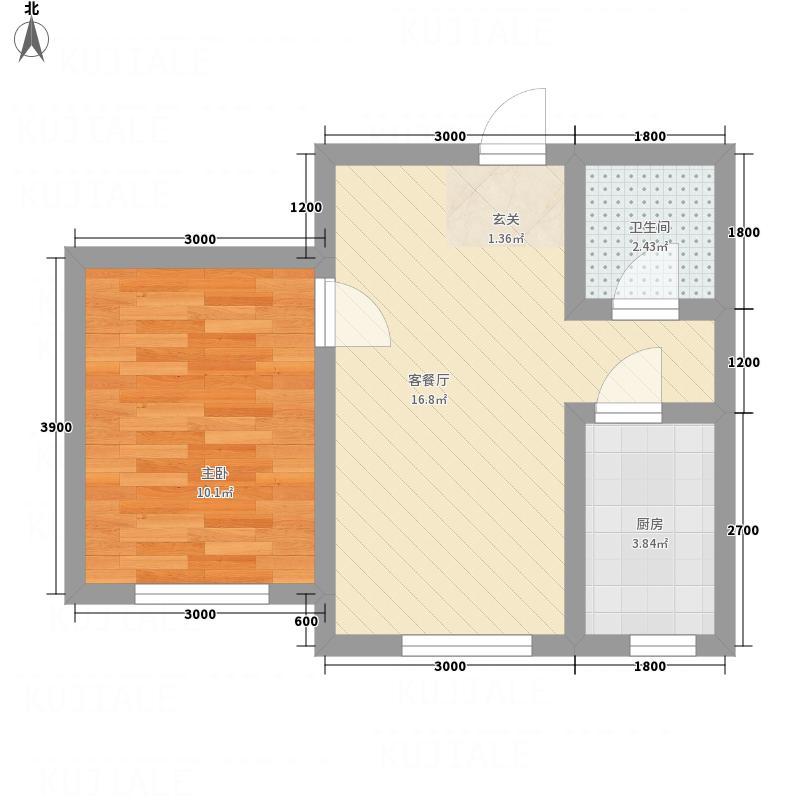 朝阳鸿盛世家1室1厅1卫1厨49.00㎡户型图