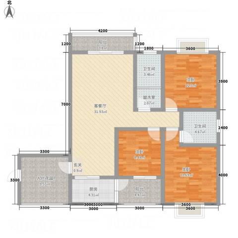 同立紫郡玫瑰园3室2厅2卫1厨111.00㎡户型图