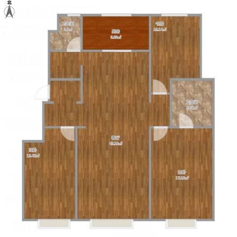 万科蓝山3室1厅2卫1厨135.00㎡户型图