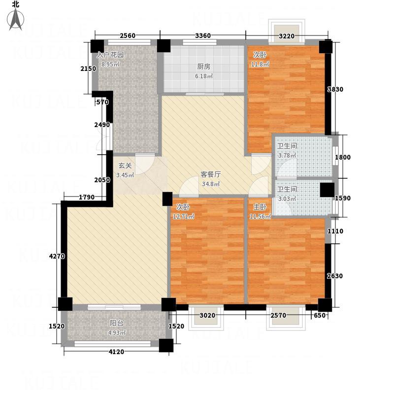 百德畔山云海3室1厅2卫1厨138.00㎡户型图