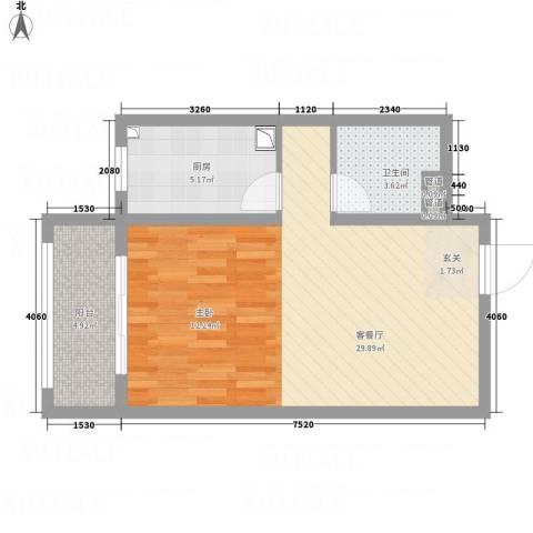 武阳秀美1厅1卫1厨62.00㎡户型图