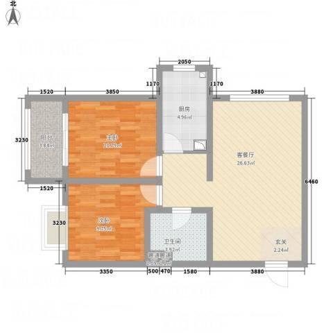 武阳秀美2室1厅1卫1厨87.00㎡户型图