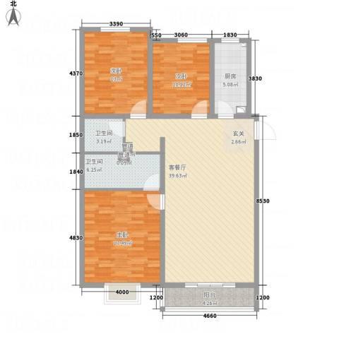 武阳秀美3室1厅2卫1厨141.00㎡户型图