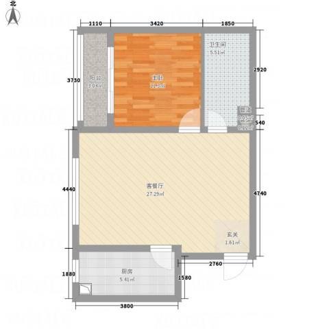 武阳秀美1室1厅1卫1厨76.00㎡户型图