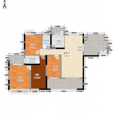 城市假日E区4室1厅2卫1厨133.18㎡户型图