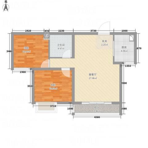 武阳秀美2室1厅1卫1厨86.00㎡户型图