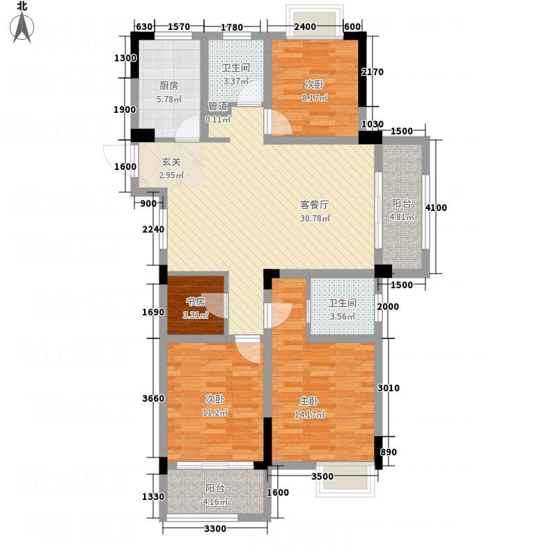 罗湖山庄127.00㎡D-1户型3室2厅2卫1厨