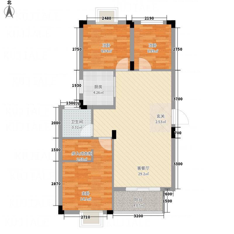 罗湖山庄88.65㎡C-1户型3室2厅1卫1厨