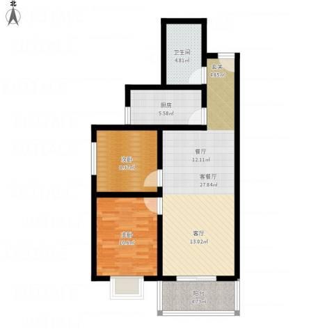 凤鸣华府颐和郡2室1厅1卫1厨90.00㎡户型图