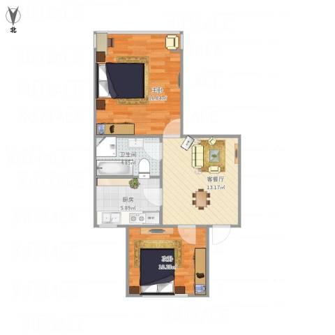 水星阁2室1厅1卫1厨69.00㎡户型图