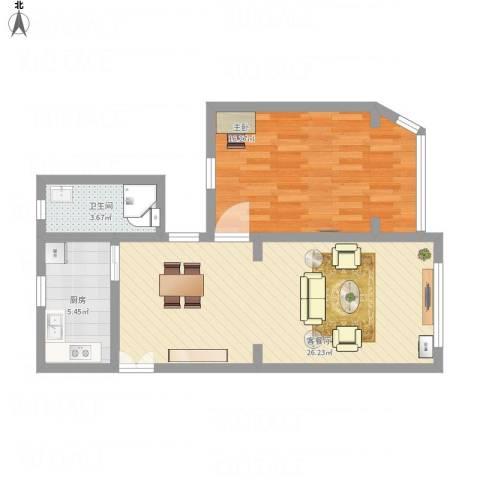 迎园新村十一坊1室1厅1卫1厨68.00㎡户型图