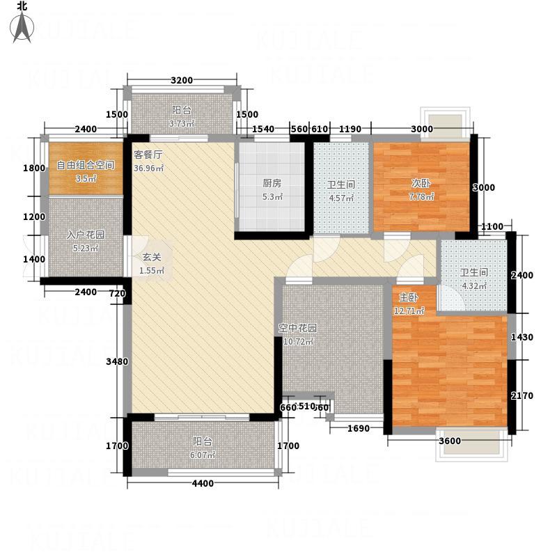 东方威尼斯12.82㎡2栋A2+空中花园户型2室2厅2卫1厨