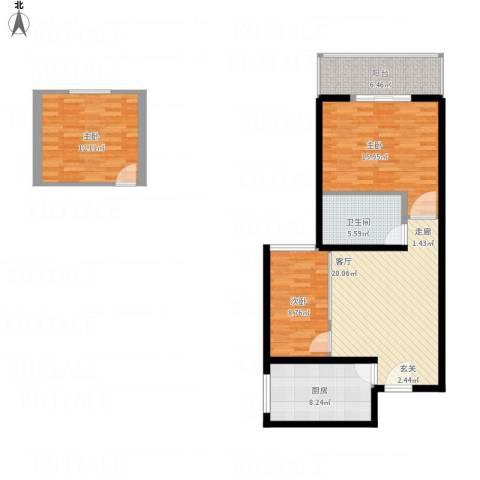 九台2000家园3室1厅1卫1厨110.00㎡户型图