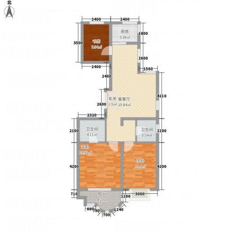 千禧・御东画卷3室1厅2卫1厨83.93㎡户型图