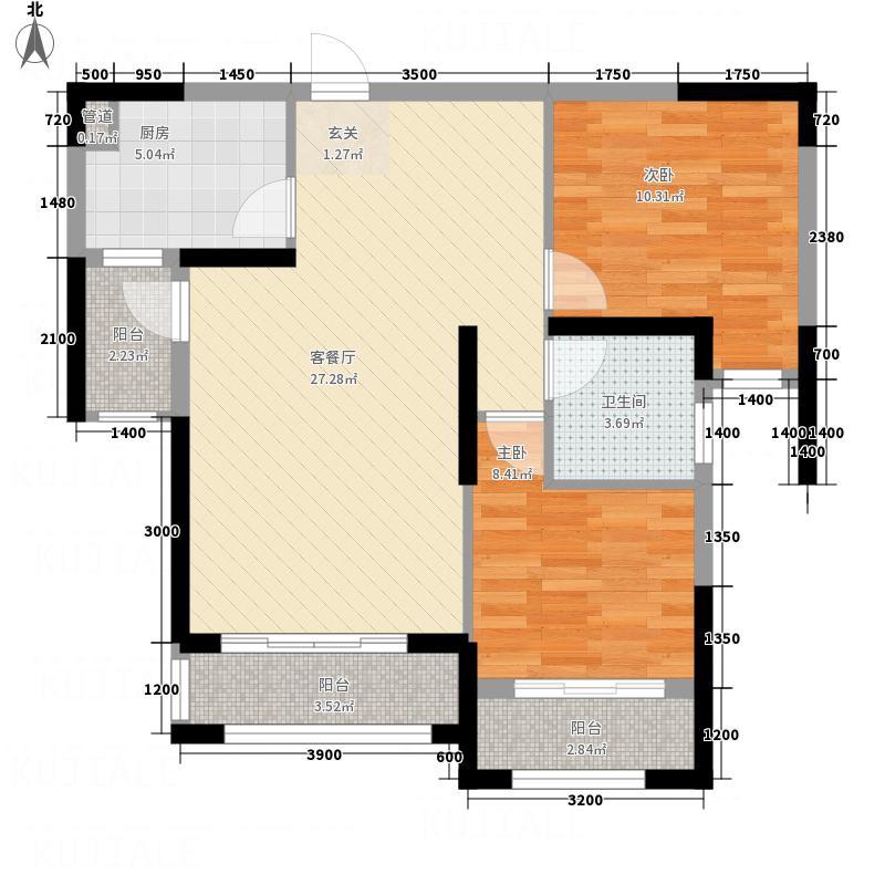 恒宝城市广场8.20㎡户型2室2厅1卫1厨