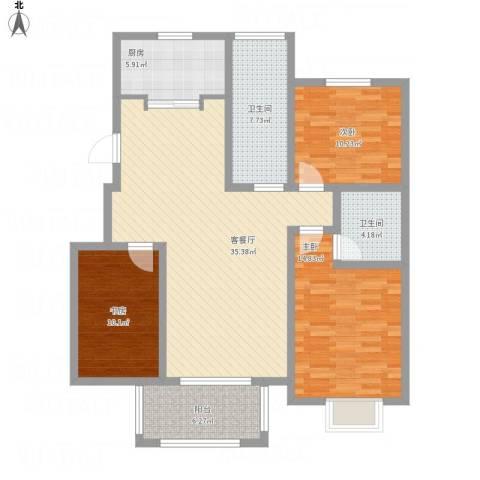 苏商御景湾3室1厅2卫1厨136.00㎡户型图