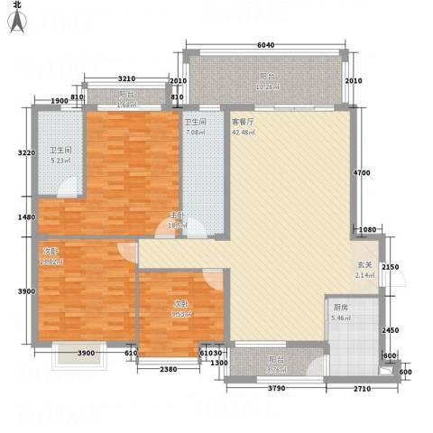 蟠龙山水豪庭3室1厅2卫1厨166.00㎡户型图