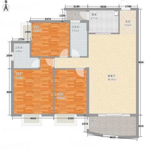 蟠龙山水豪庭3室1厅2卫1厨149.00㎡户型图