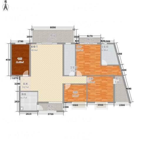 蟠龙山水豪庭4室1厅2卫1厨195.00㎡户型图