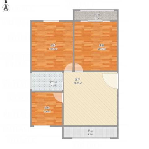 贝港南区3室1厅1卫1厨94.00㎡户型图