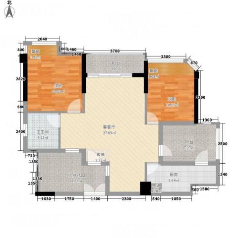 东方・比华利山庄2室1厅1卫1厨86.00㎡户型图