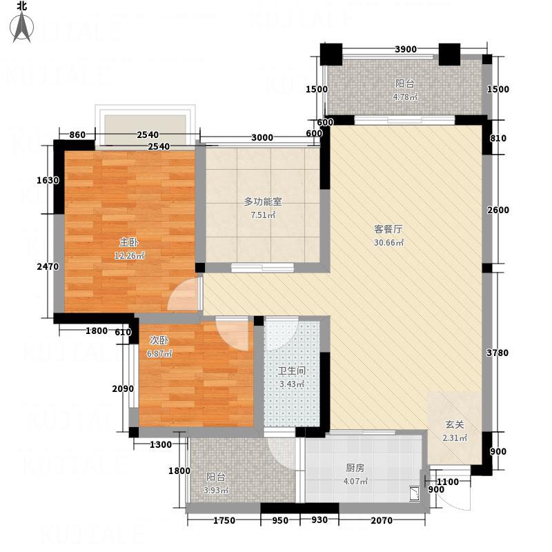 地中海印象・柠都新城D户型2室2厅1卫1厨