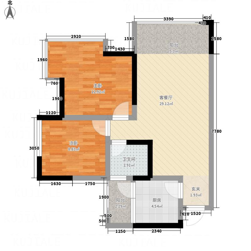 南湖别院66.00㎡A户型3室2厅2卫1厨