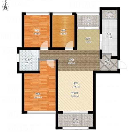 泰峰金谷园3室1厅1卫1厨111.00㎡户型图
