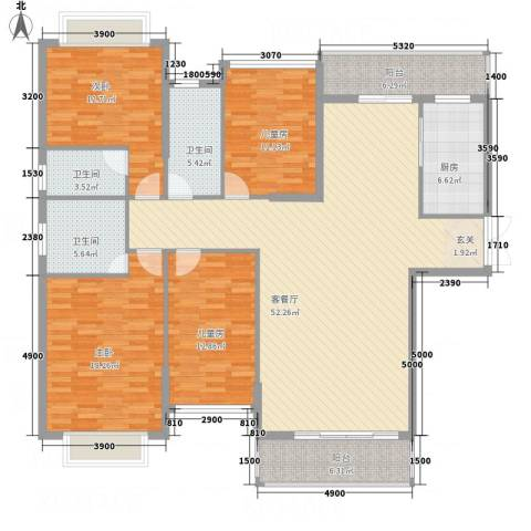耀宝凯旋豪庭・锦公馆3室1厅3卫1厨163.00㎡户型图
