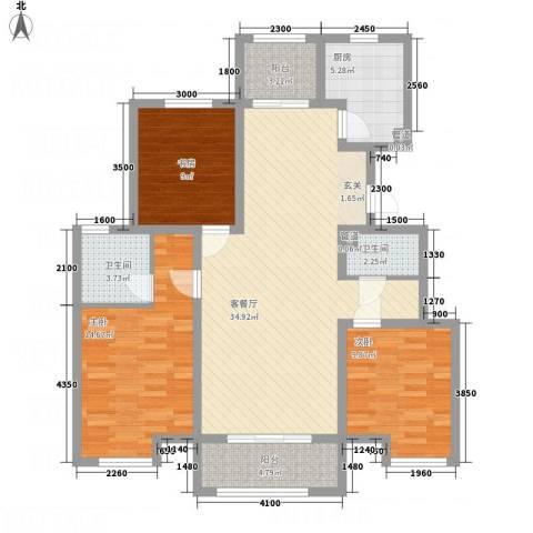 七里河・佳洲美地3室1厅2卫1厨117.00㎡户型图