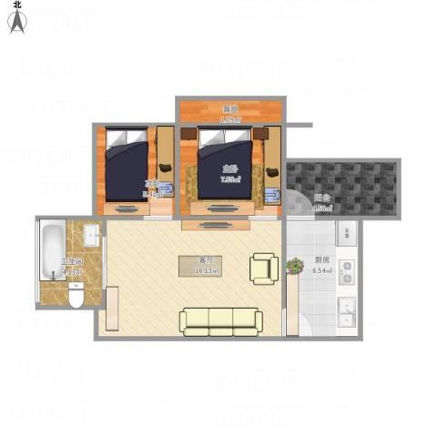 今日家园2室1厅1卫1厨63.00㎡户型图