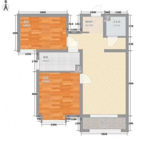 七里河・佳洲美地2室1厅1卫1厨77.00㎡户型图