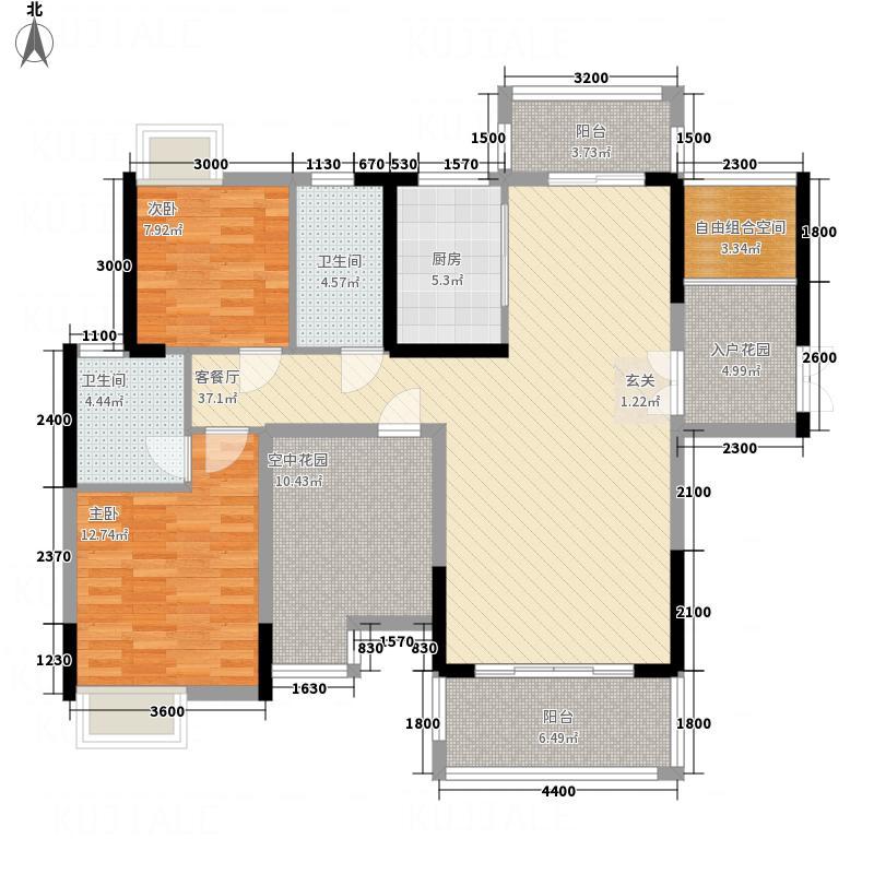 东方威尼斯123.80㎡4栋A1+空中花园户型2室2厅2卫1厨