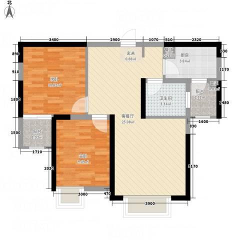 惠民怡家2室1厅1卫1厨84.00㎡户型图