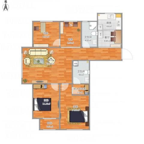 青云天下4室2厅2卫1厨127.00㎡户型图