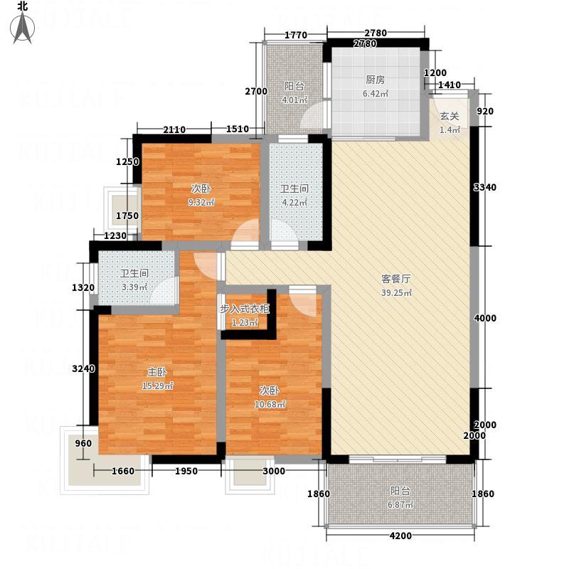 江南尚城B-2型户型3室2厅2卫1厨