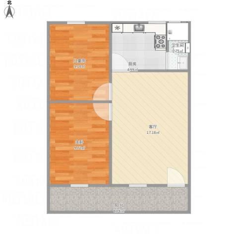石楼榕苑2室1厅1卫1厨67.00㎡户型图