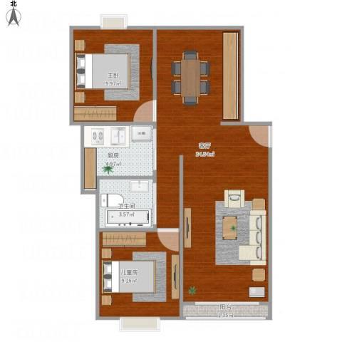 梧桐城邦二期2室1厅1卫1厨86.00㎡户型图