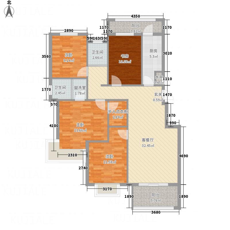 香樟公馆142.85㎡背面E型户型4室2厅2卫1厨