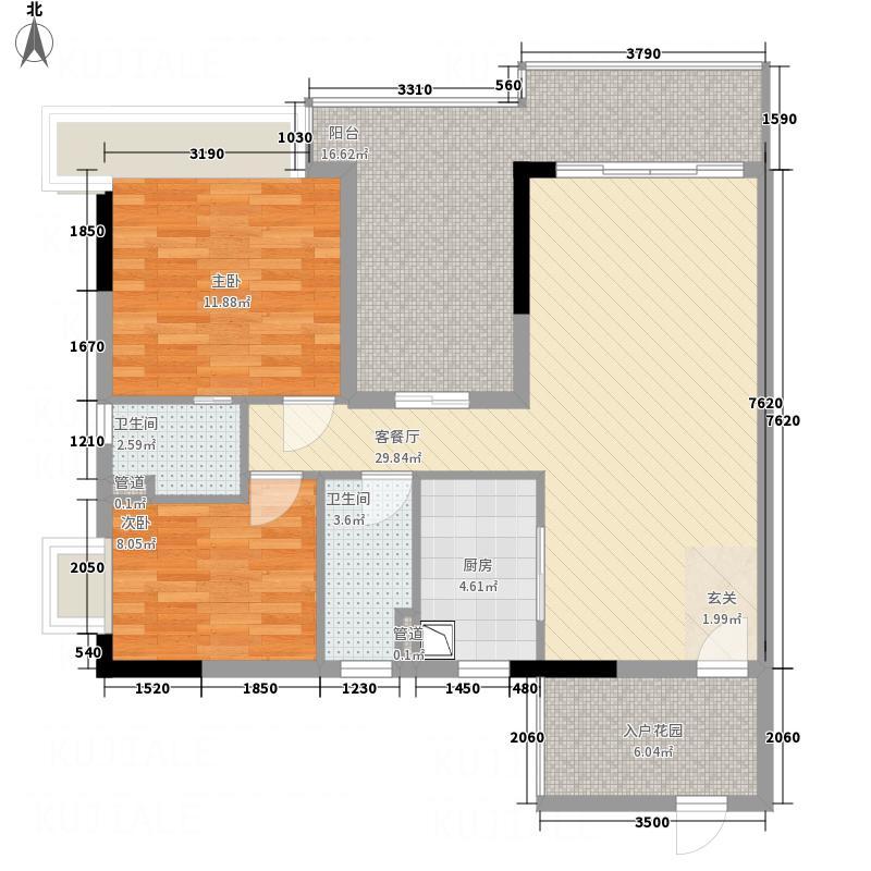 鼎湖森邻118.00㎡03单元户型2室2厅2卫1厨