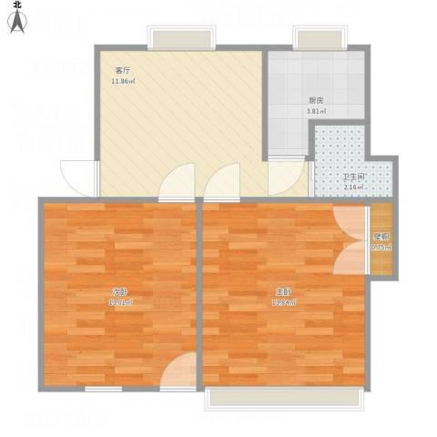 天马西村2室1厅1卫1厨62.00㎡户型图
