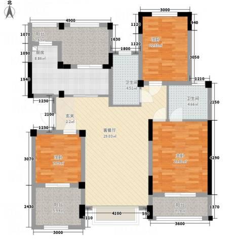 半岛蓝湾3室1厅2卫1厨118.00㎡户型图