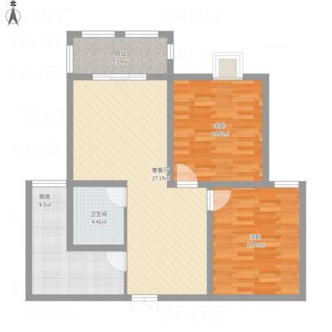 御景豪庭2室1厅1卫1厨105.00㎡户型图