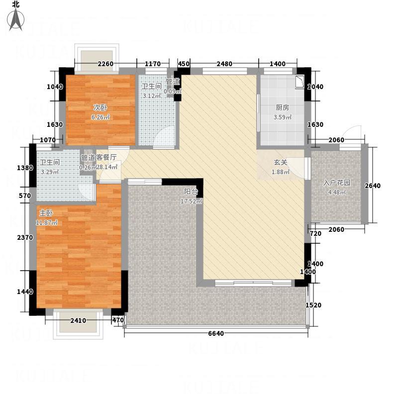 鼎湖森邻113.37㎡n栋一梯两户02B户型2厅2卫1厨